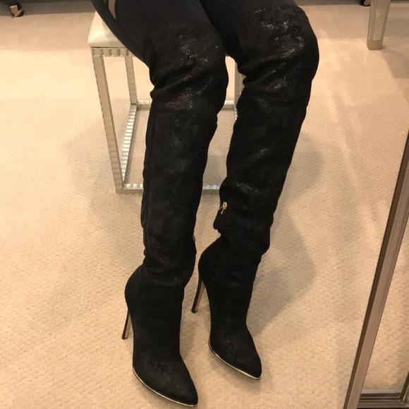 guess black thigh high boots